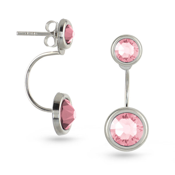 Light Rose Swarovski Crystal Ear Jackets