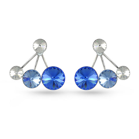 Shades Of Blue Swarovski Crystal Ear Jackets