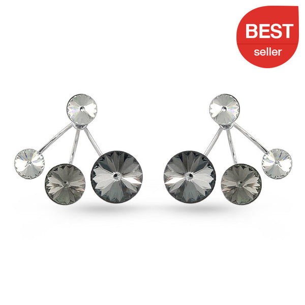 Shades Of Grey Swarovski Crystal Ear Jackets