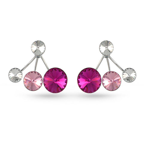 Shades Of Pink Swarovski Crystal Ear Jackets