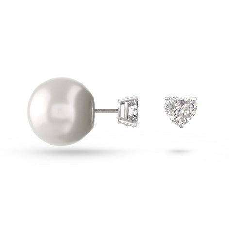 Cubic Zirconia Heart & Pearl Double Sided Stud Earrings