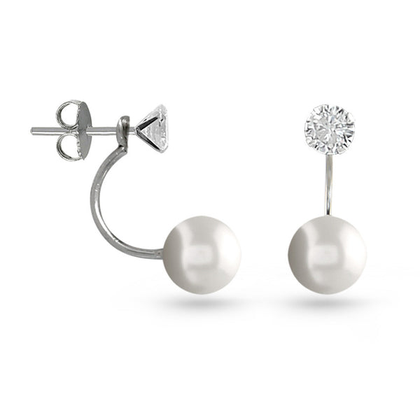 Pearl And Cubic Zirconia Earring Jackets