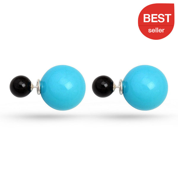 Double Sided Onyx Stud Earrings Turquoise Black