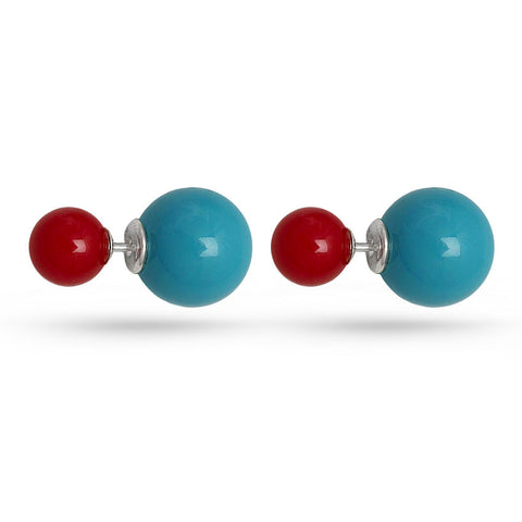 Double Sided Coral Stud Earrings Turquoise Red