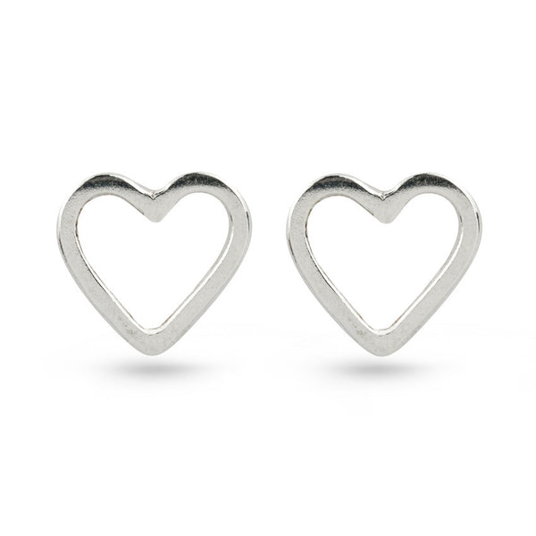 Sterling Silver Heart Shaped Stud Earrings