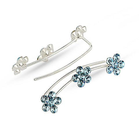 Aquamarine Flower Silver Ear Climbers