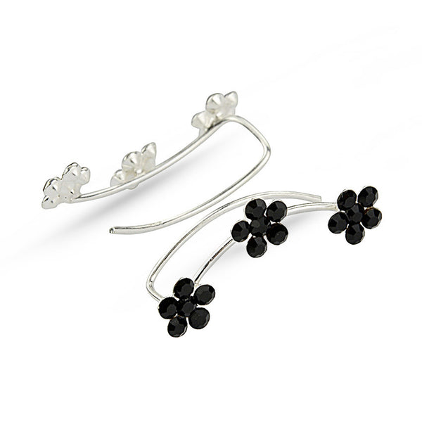 Black Crystal Flowers Sterling Silver Ear Climbers