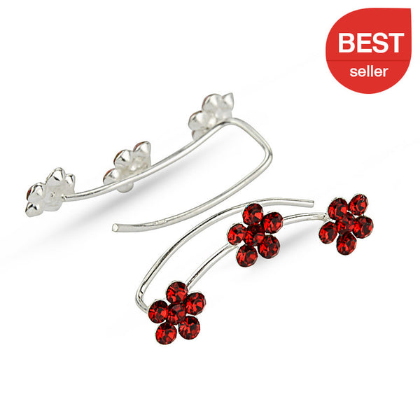 Red Crystal Flowers Sterling Silver Ear Climbers
