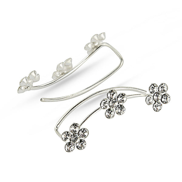 White Crystal Flowers Sterling Silver Ear Climbers