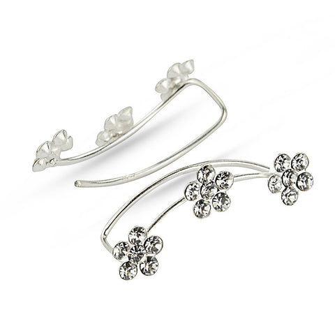 Crystal Flower Silver Ear Climbers