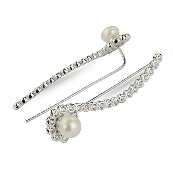 Freshwater Pearl And Cubic Zirconia Climber Earrings