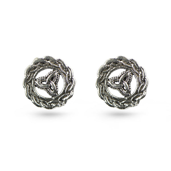 Celtic Symbol Circle Frame Sterling Silver Stud Earrings