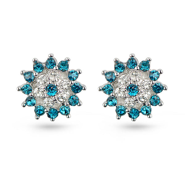 Cubic Zirconia Aquamarine Snowflake Sterling Silver Stud Earrings