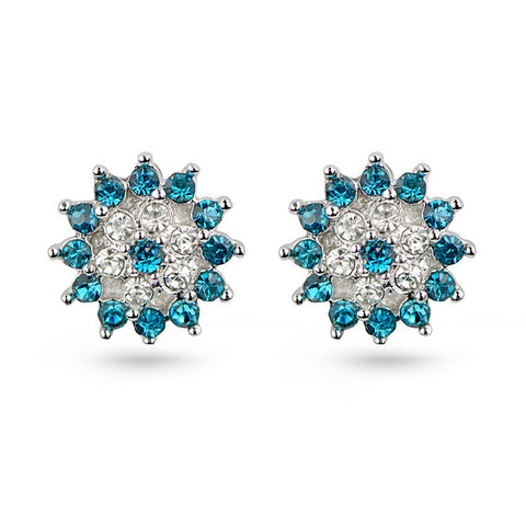 Aquamarine Snowflake Stud Earrings