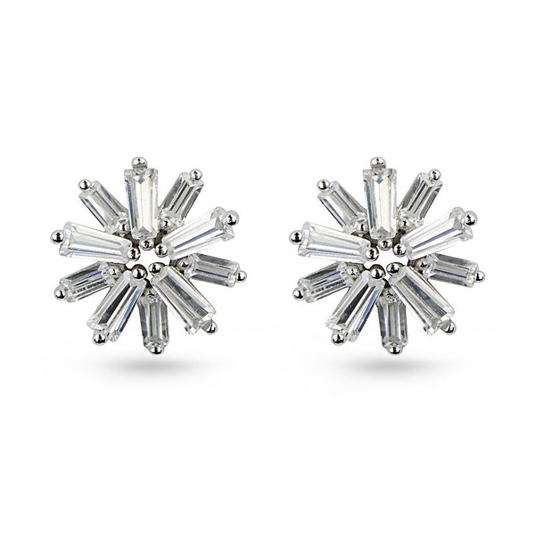 Baguette Cut Cubic Zirconia Star Sterling Silver Stud Earrings