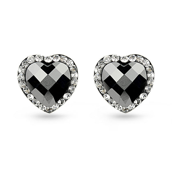 Black Crystal Heart Sterling Silver Stud Earrings