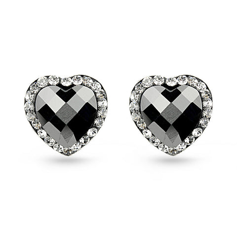 Black Heart Crystal Stud Earrings