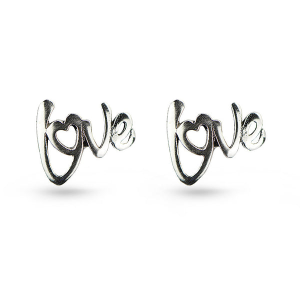 Cut Out Word Love Message Sterling Silver Stud Earrings