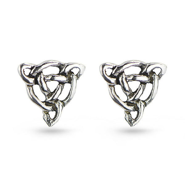 Celtic Symbol Triangle Sterling Silver Stud Earrings