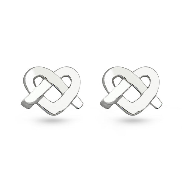Love Knot Heart Sterling Silver Stud Earrings