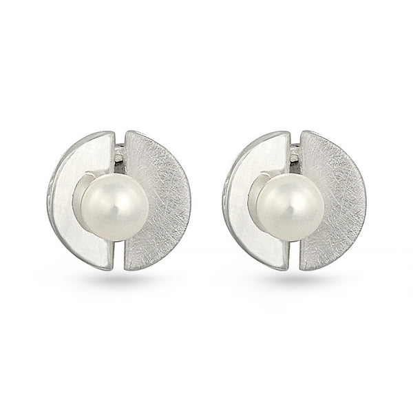 Freshwater Pearl In Shell Round Sterling Silver Stud Earrings
