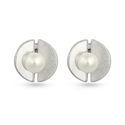 Freshwater Pearl In Shell Stud Earrings