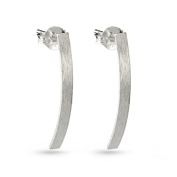 Silver Bar Polished Matt Look Stud Earrings