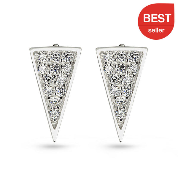 Cubic Zirconia Asymmetric Long Triangle Sterling Silver Stud Earrings
