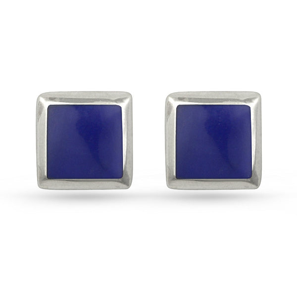 Dark Blue Lapis Lazuli Square Sterling Silver Stud Earrings