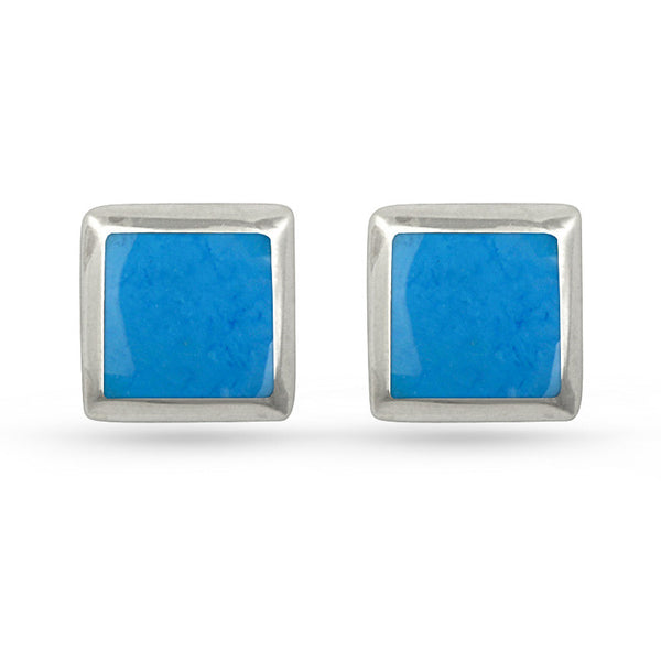 Deep Sky Blue Square Sterling Silver Stud Earrings