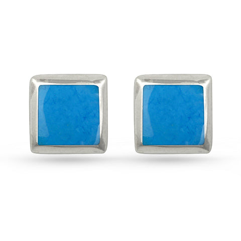 Deep Sky Blue Square Stud Earrings
