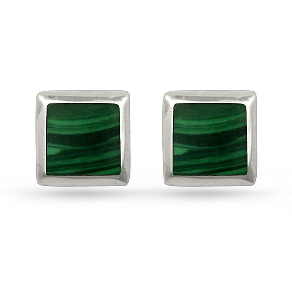 Dark Green Malachite Square Sterling Silver Stud Earrings