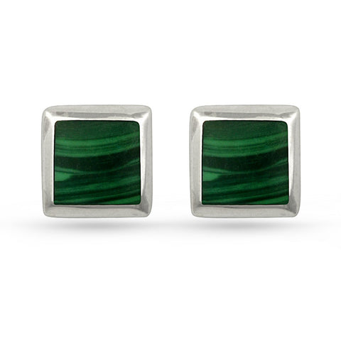 Green Malachite Square Stud Earrings