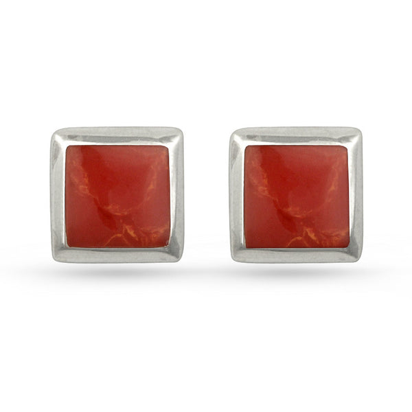 Red Resin Square Sterling Silver Stud Earrings