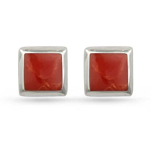 Red Resin Square Stud Earrings