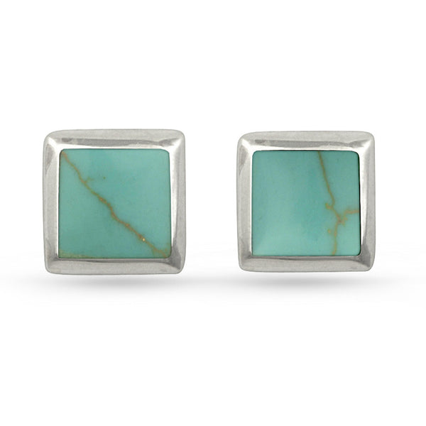 Green Turquoise Square Sterling Silver Stud Earrings