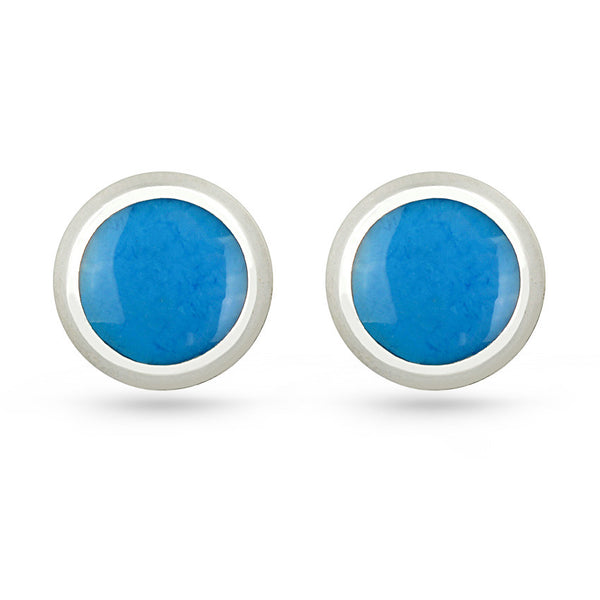 Deep Sky Blue Round Sterling Silver Stud Earrings