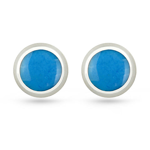 Deep Sky Blue Round Stud Earrings