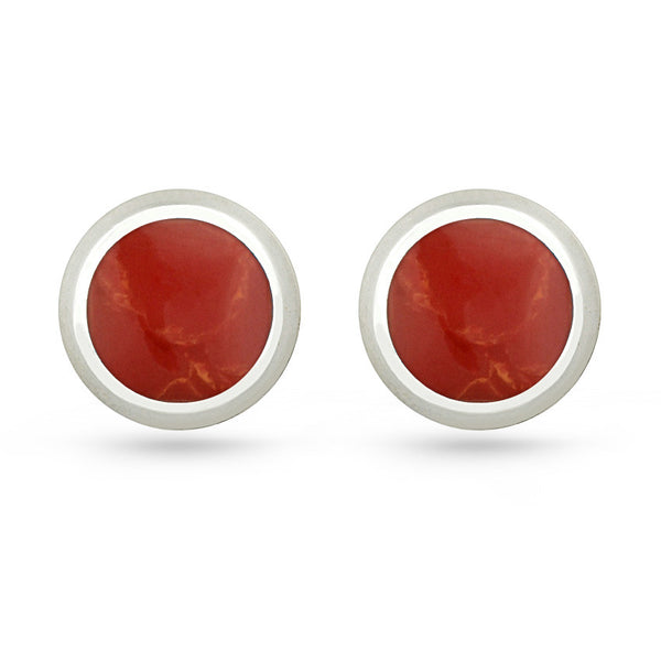 Red Resin Round Sterling Silver Stud Earrings