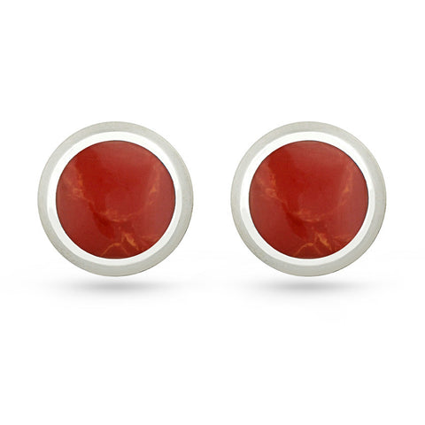 Red Resin Round Stud Earrings