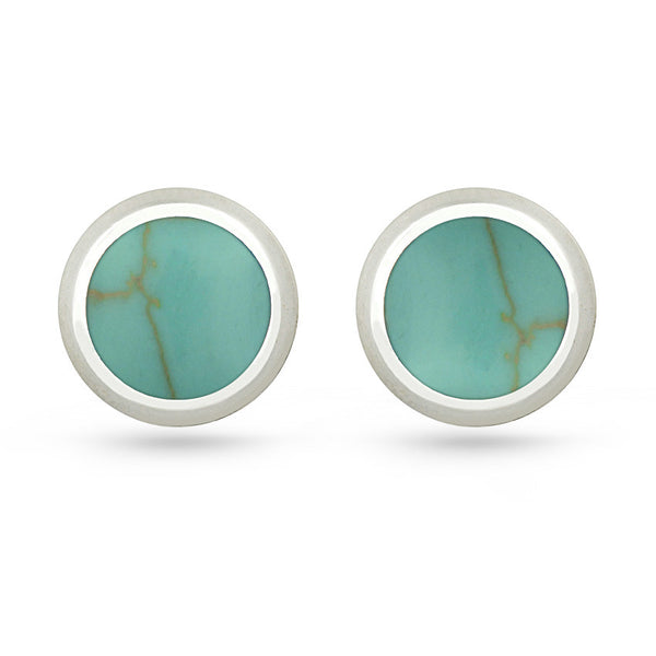 Green Turquoise Round Sterling Silver Stud Earrings