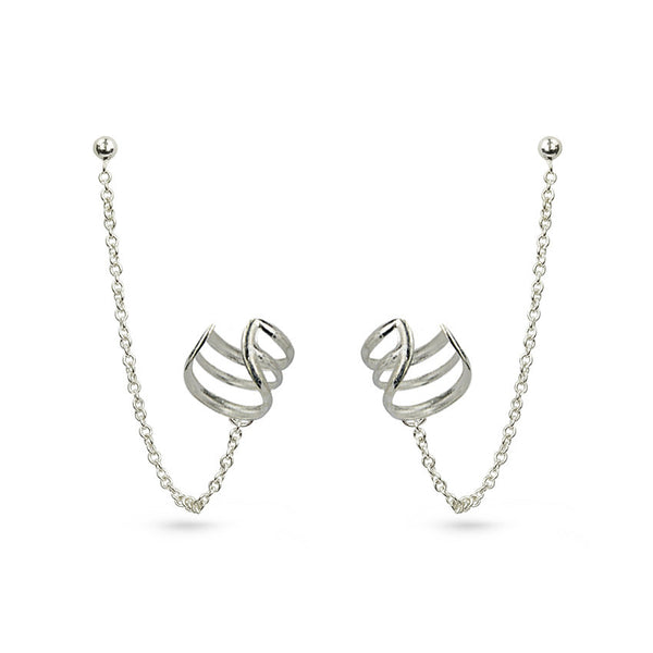 Chain And Lines Sterling Silver Ear Cuff Stud Earrings