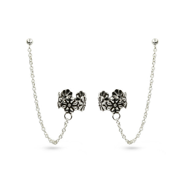 Chain And Flowers Sterling Silver Ear Cuff Stud Earrings