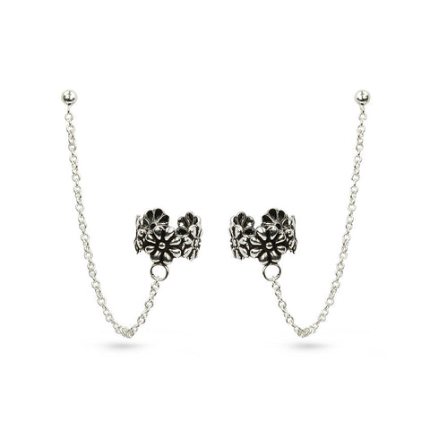 Chain And Flowers Ear Cuff Stud Earrings