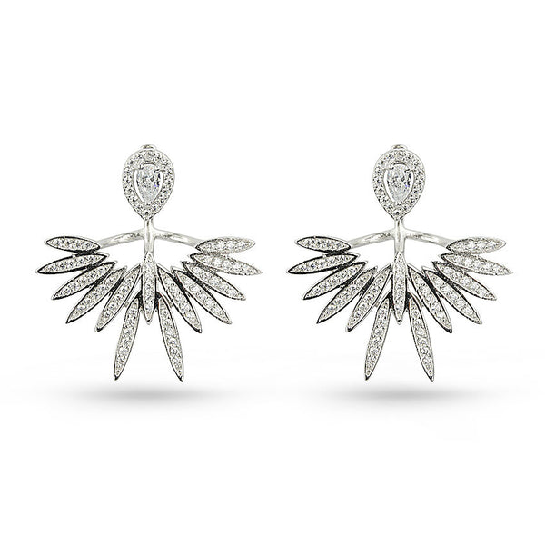 Cubic Zirconia Wings Pierced Sterling Silver Earring Jackets