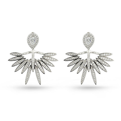 CZ Eagle Wings Jacket Earrings