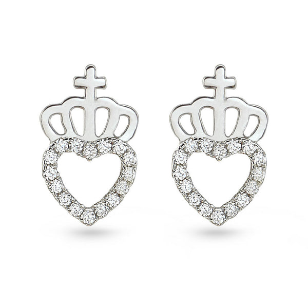 Silver Crown And Cubic Zirconia Heart Stud Earrings