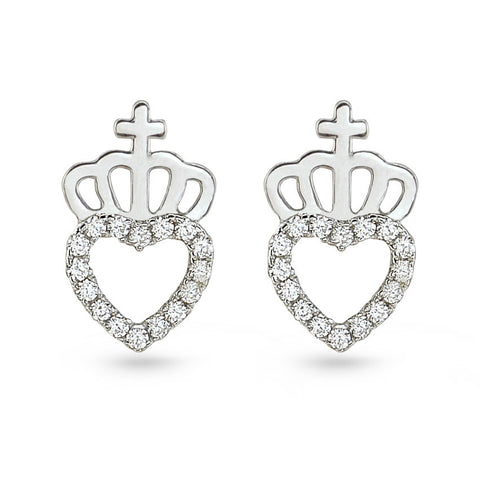 My Queen Cubic Zirconia Heart Stud Earrings