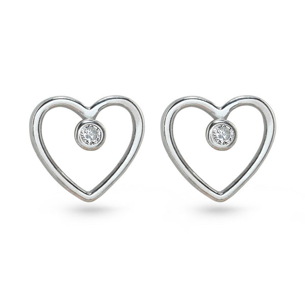 Love Heart Shaped Cubic Zirconia Silver Stud Earrings