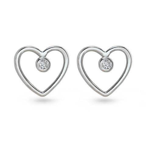 Love Heart CZ Stud Earrings